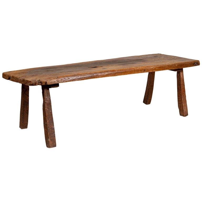 Rustic Indonesian Antique Wooden Bench With Weathered Appearance