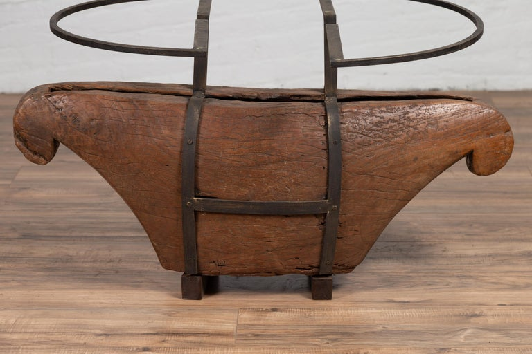 Contemporary Rustic Indonesian Coffee Table Base Made of Antique Wood with Iron Supports For Sale