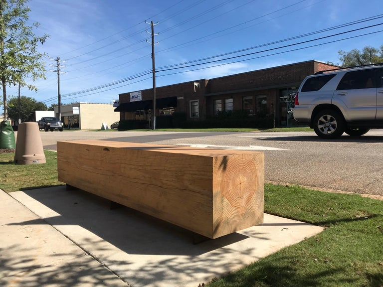North American Rustic Indoor / Outdoor Large Reclaimed Wood Bench Pine and Corten Steel For Sale