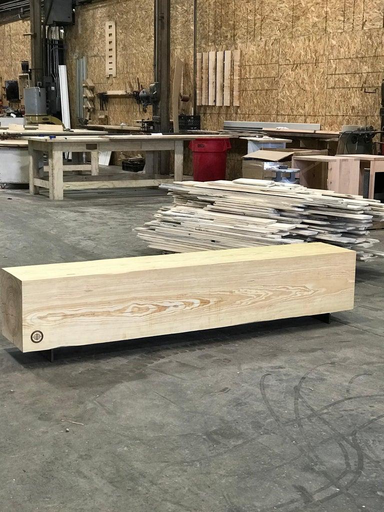 Rustic Indoor / Outdoor Large Reclaimed Wood Bench Pine and Corten Steel In New Condition For Sale In Birmingham, AL