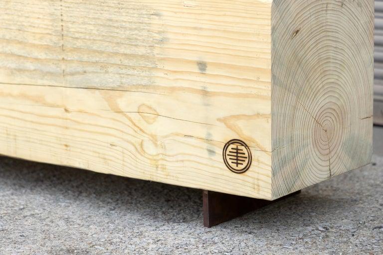 American Rustic Indoor / Outdoor Pine Bench Pine and Corten Steel Base 'In-Stock'