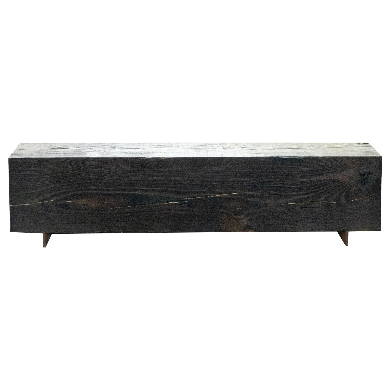 Rustic Indoor / Outdoor Shou Sugi Ban Wood Bench Pine and Corten Steel