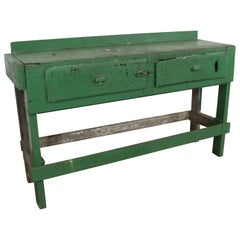Rustic Industrial Primitive Workbench Table/Island, circa 1930s