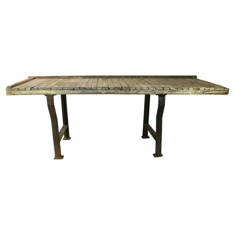 Rustic Industrial Work Table Wood Top with Cast Iron Legs For Sale