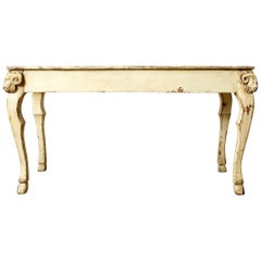 Rustic Italian Lacquered Ram's Head Motif Writing Table