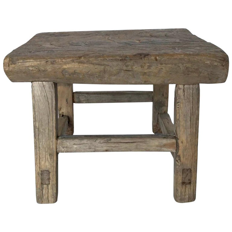 Rustic Japanese Elm Stool Or Small Table For Sale At 1stdibs
