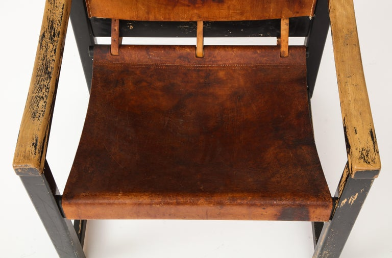 Rustic Modern Leather and Painted Wood Armchair For Sale 4