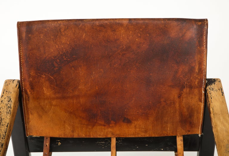 Rustic Modern Leather and Painted Wood Armchair For Sale 5