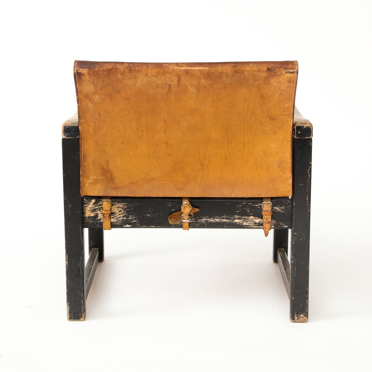 Rustic Modern Leather and Painted Wood Armchair For Sale 6