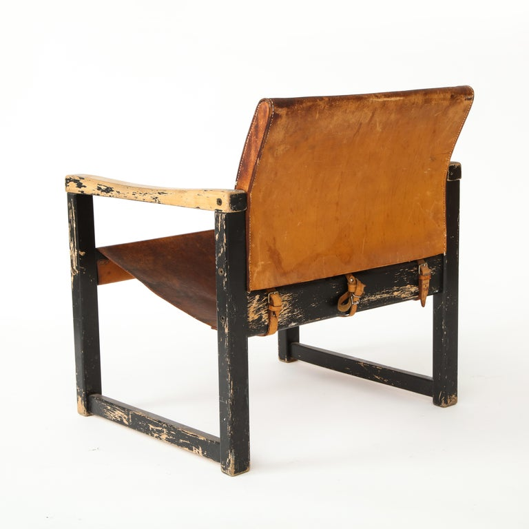 Rustic Modern Leather and Painted Wood Armchair For Sale 8