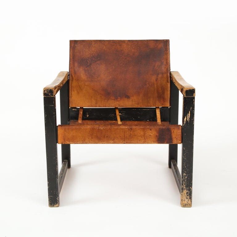 Simple modernist form with great patina and details. Original leather. Original paint.
