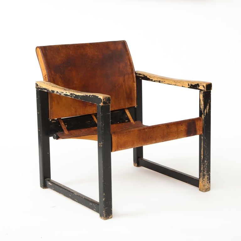 French Rustic Modern Leather and Painted Wood Armchair For Sale