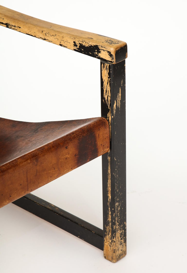 Hand-Painted Rustic Modern Leather and Painted Wood Armchair For Sale