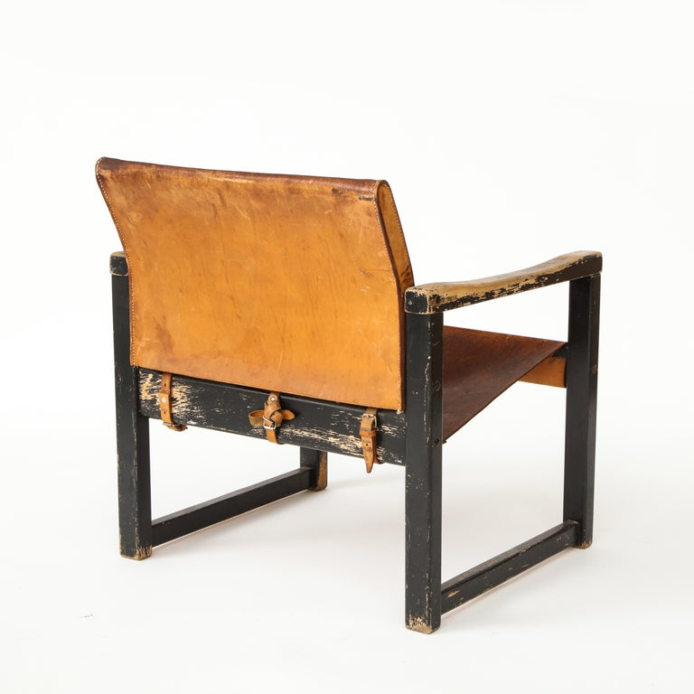 Mid-20th Century Rustic Modern Leather and Painted Wood Armchair For Sale