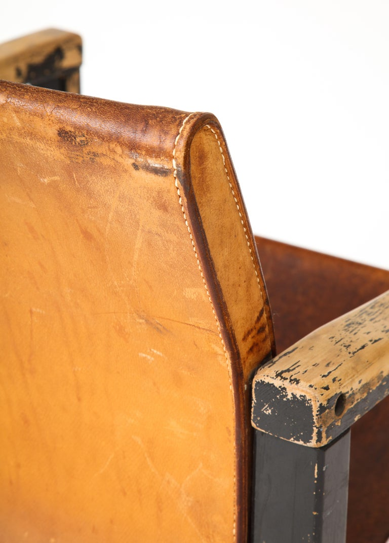 Rustic Modern Leather and Painted Wood Armchair For Sale 1