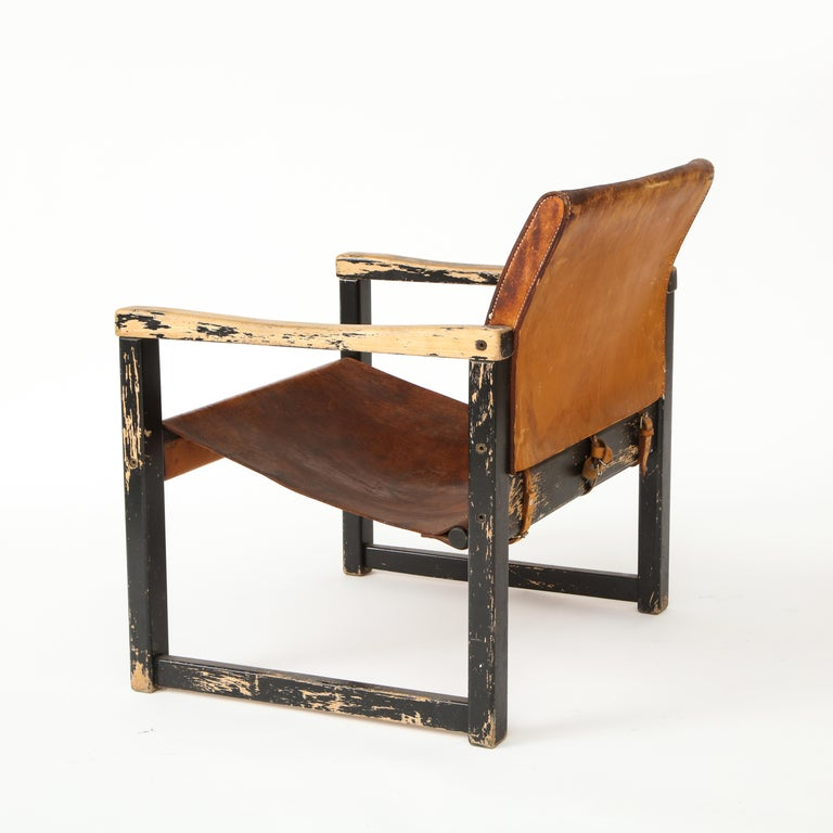 Rustic Modern Leather and Painted Wood Armchair For Sale 2