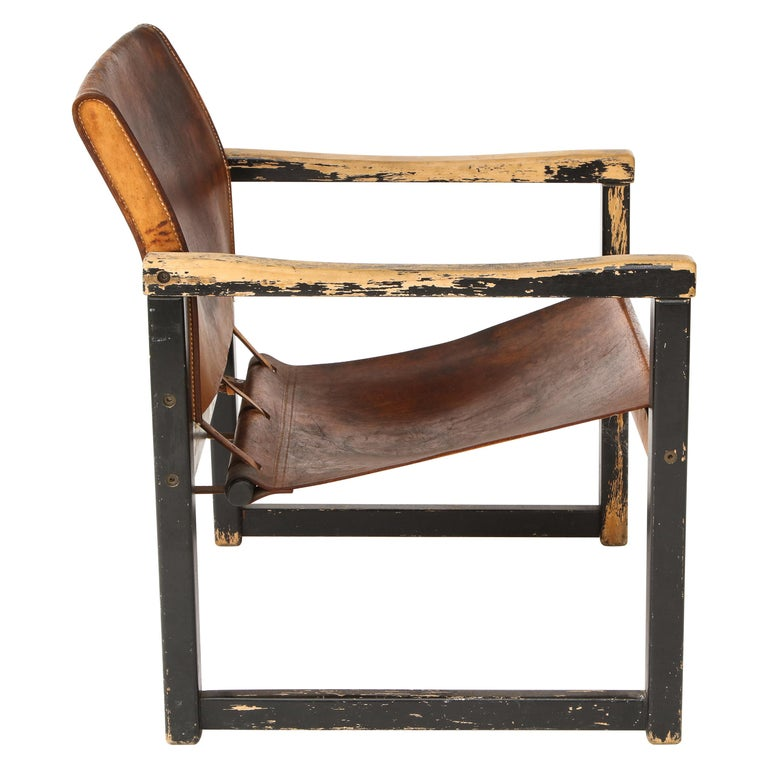 Rustic Modern Leather and Painted Wood Armchair For Sale