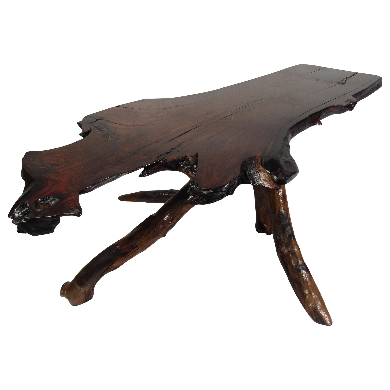 Rustic Live-Edge Slab Table