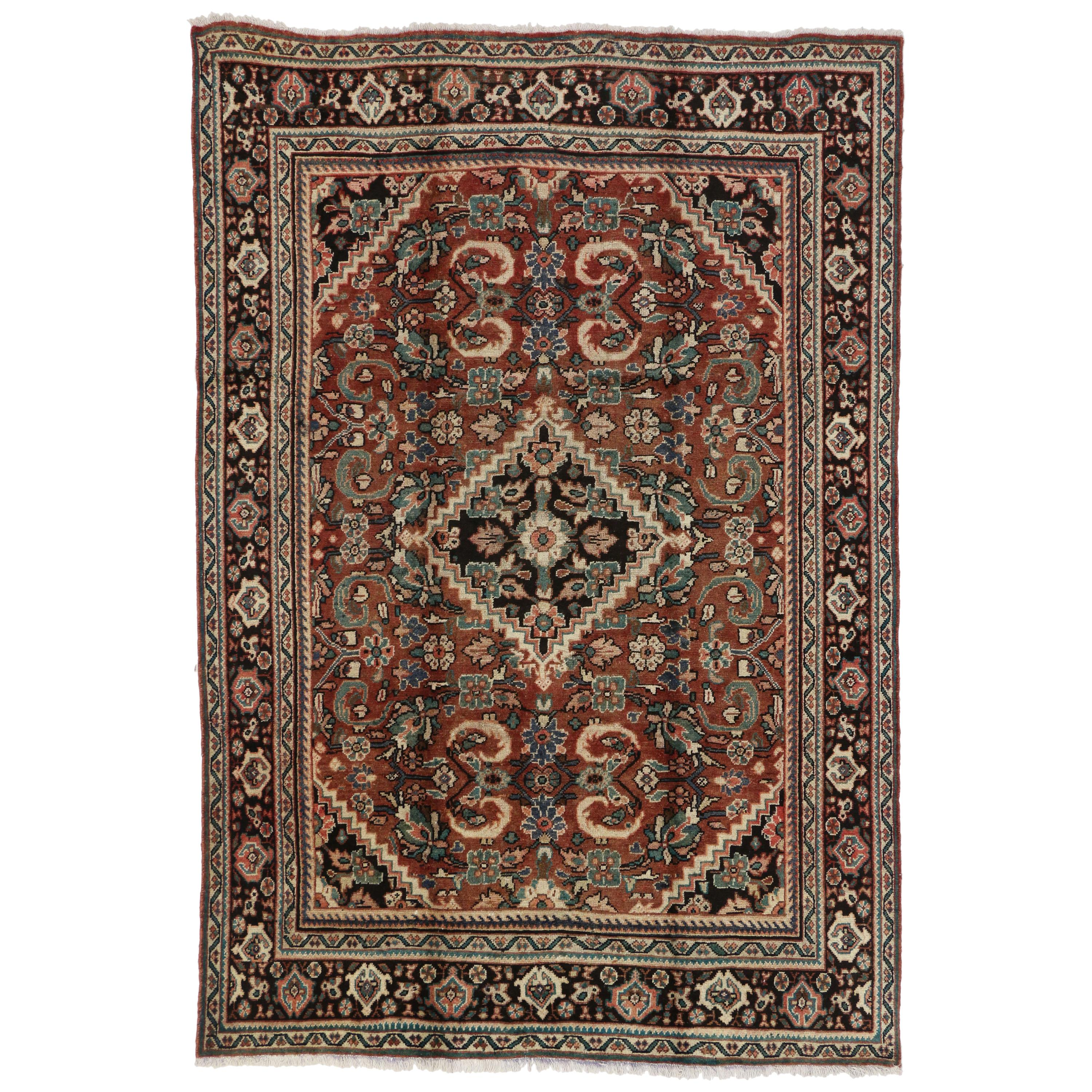 Vintage Persian Mahal Area Rug with Modern Rustic Luxe Style