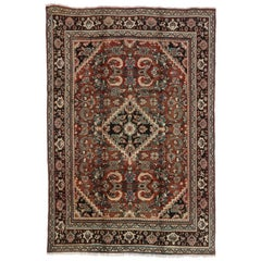 Rustic Luxe Style Vintage Persian Mahal Area Rug
