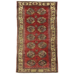 Rustic Mcm Style Vintage Turkish Oushak Rug, Kitchen, Foyer or Entry Rug