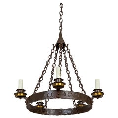 Rustic Medieval Style Wrought Iron Chandelier