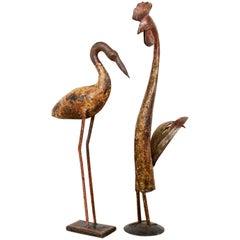 Rustic Metal Folk Art Birds, 20th Century
