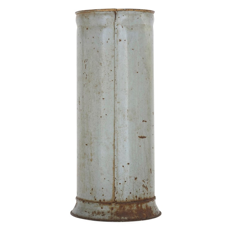 Rustic Metal Umbrella Stand with Painted Flower Decoration For Sale 1