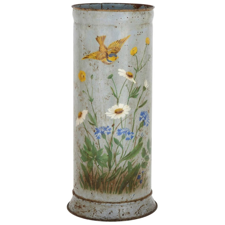 Rustic Metal Umbrella Stand with Painted Flower Decoration For Sale