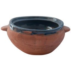 Rustic Mexican Ceramic Fruit Bowl made in Oaxaca Lead Free Blue Cover