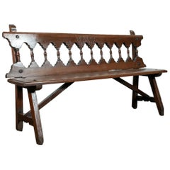 Rustic Mid-19th Century Walnut Spanish Bench