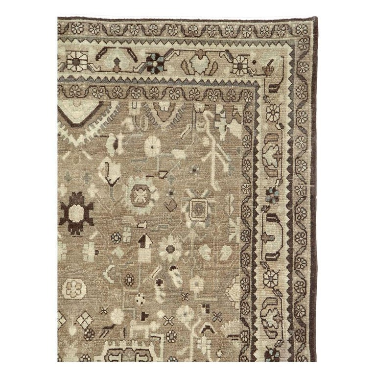 Hand-Knotted Rustic Mid-20th Century Century Handmade Persian Malayer Gallery Accent Rug For Sale