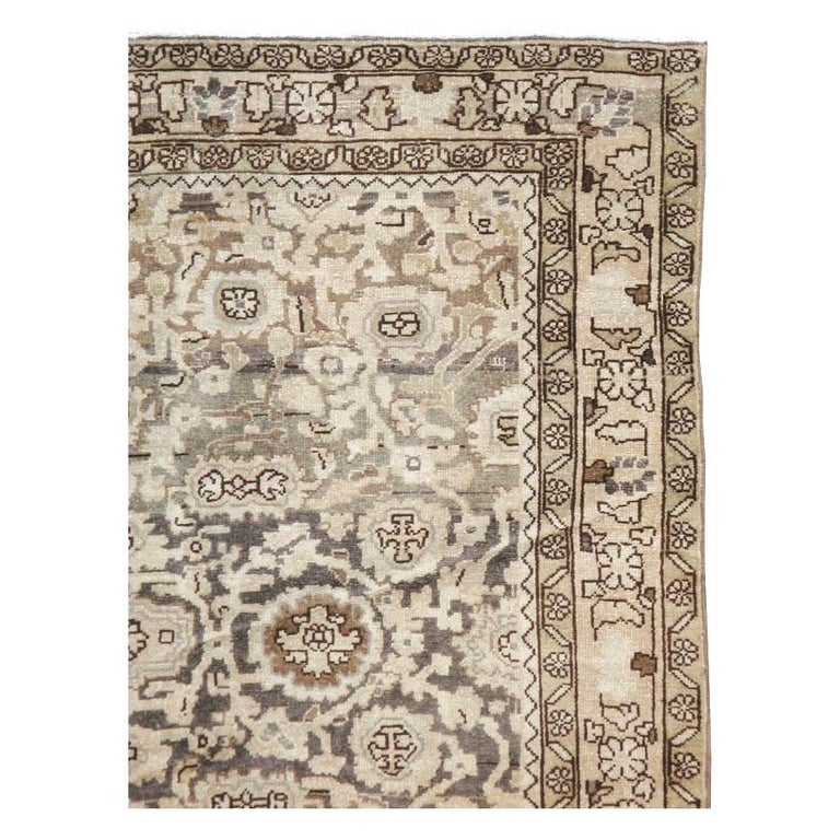 Hand-Knotted Rustic Mid-20th Century Handmade Persian Malayer Gallery Accent Rug For Sale