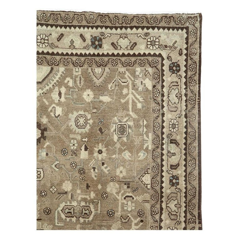 Rustic Mid-20th Century Century Handmade Persian Malayer Gallery Accent Rug In Good Condition For Sale In New York, NY
