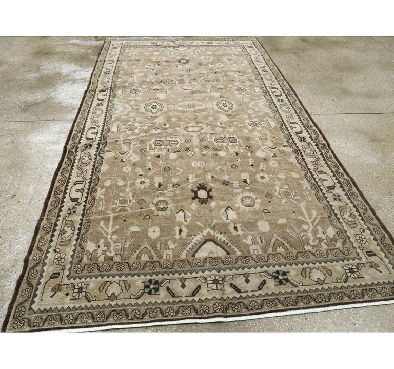 Wool Rustic Mid-20th Century Century Handmade Persian Malayer Gallery Accent Rug For Sale