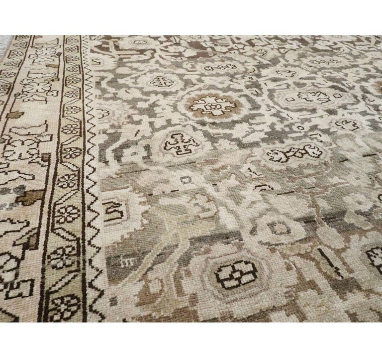 Wool Rustic Mid-20th Century Handmade Persian Malayer Gallery Accent Rug For Sale