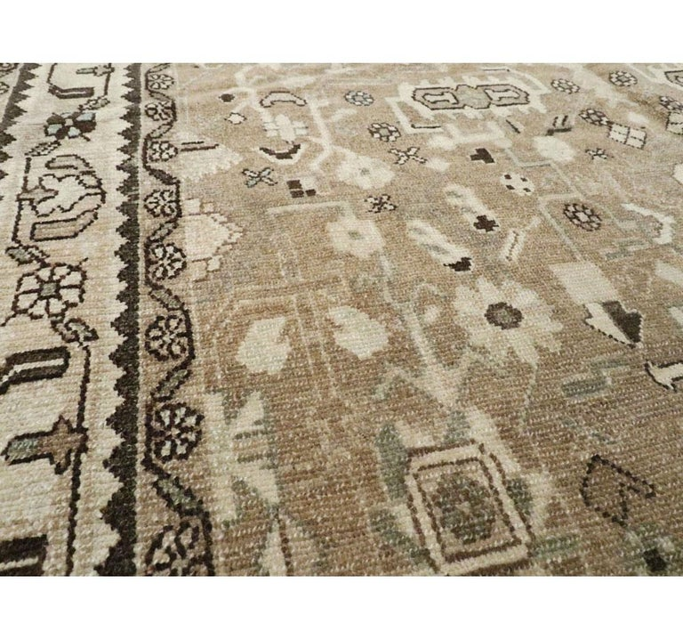 Rustic Mid-20th Century Century Handmade Persian Malayer Gallery Accent Rug For Sale 1