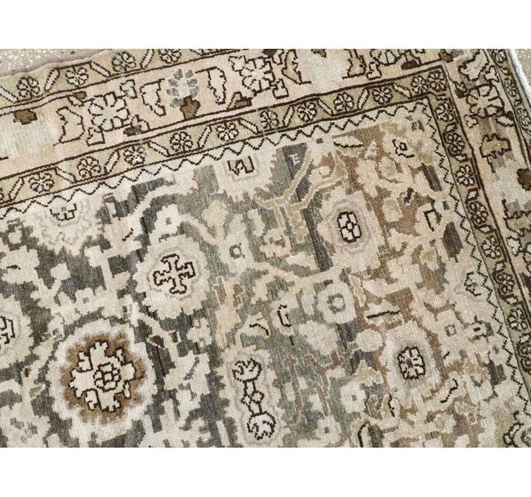 Rustic Mid-20th Century Handmade Persian Malayer Gallery Accent Rug For Sale 1