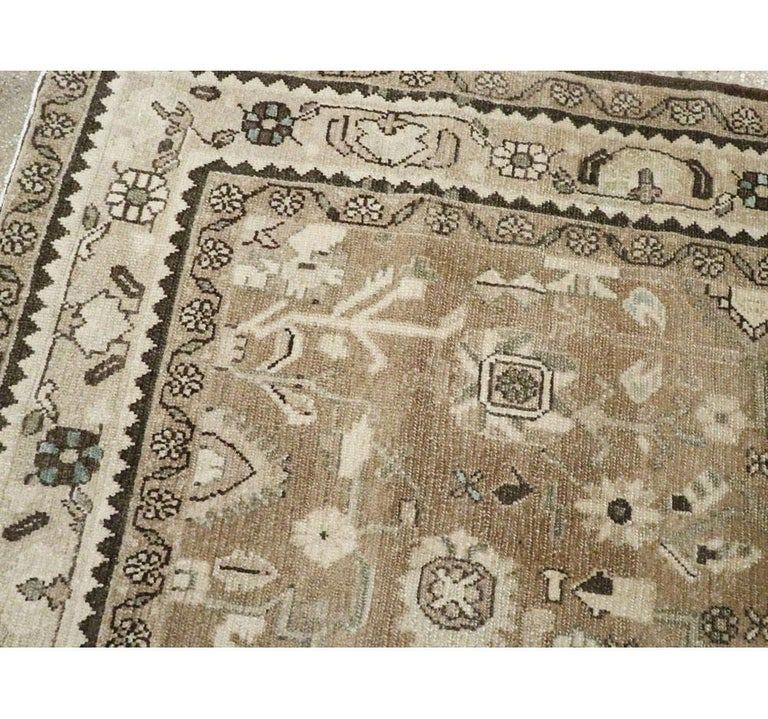 Rustic Mid-20th Century Century Handmade Persian Malayer Gallery Accent Rug For Sale 2
