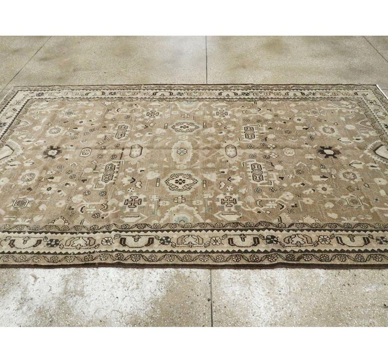 Rustic Mid-20th Century Century Handmade Persian Malayer Gallery Accent Rug For Sale 3