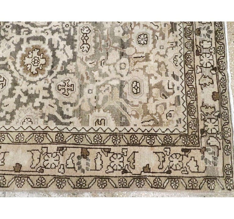 Rustic Mid-20th Century Handmade Persian Malayer Gallery Accent Rug For Sale 3