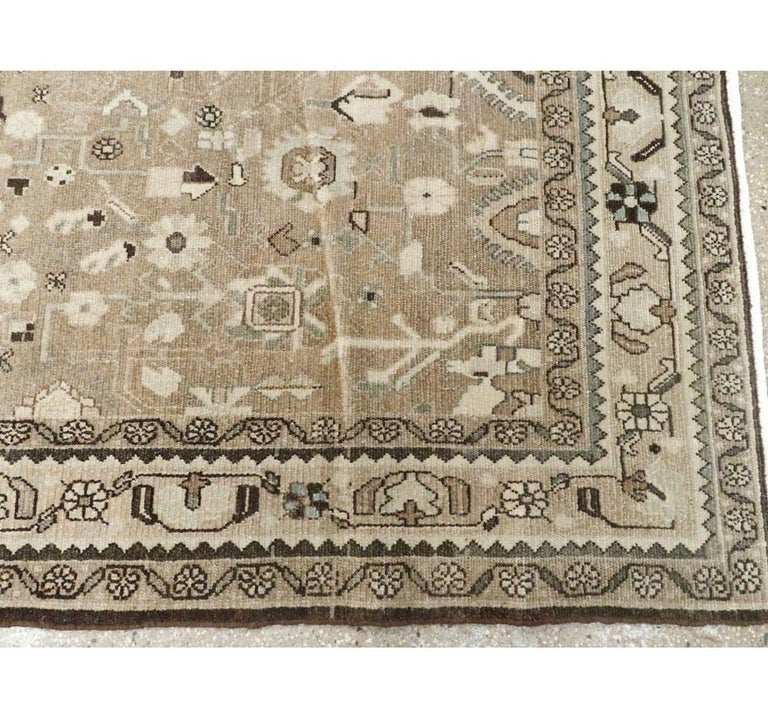 Rustic Mid-20th Century Century Handmade Persian Malayer Gallery Accent Rug For Sale 4