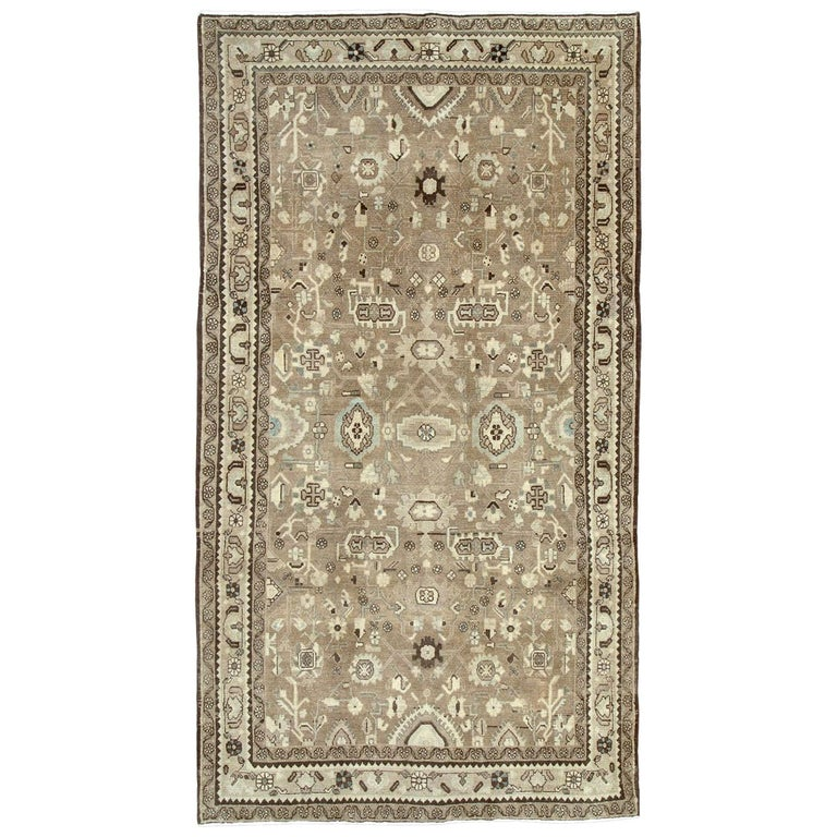 Rustic Mid-20th Century Century Handmade Persian Malayer Gallery Accent Rug For Sale