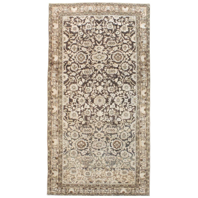 Rustic Mid-20th Century Handmade Persian Malayer Gallery Accent Rug For Sale