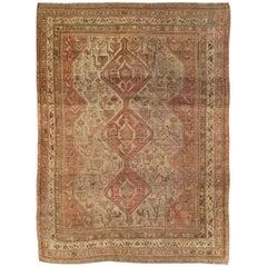 Rustic Mid-20th Century Handmade Distressed Persian Shiraz Accent Rug