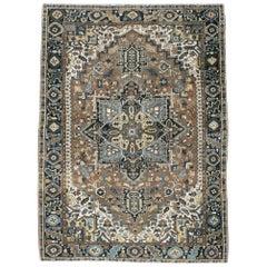Rustic Mid-20th Century Handmade Persian Heriz Room Size Accent Rug