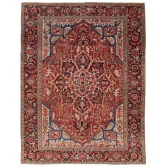 Rustic Mid-20th Century Handmade Persian Heriz Room Size Carpet