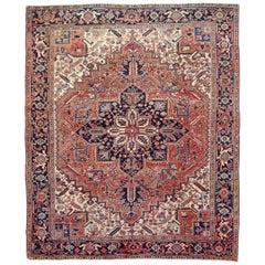 Rustic Mid-20th Century Handmade Persian Heriz Room Size Rug