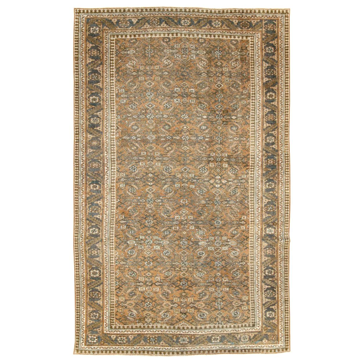 Rustic Mid-20th Century Handmade Persian Mahal Room Size Accent Rug