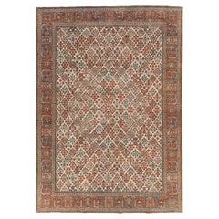 Rustic Mid-20th Century Persian Joshegan Room Size Carpet In Red and Cream
